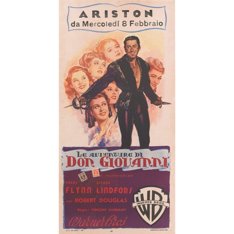 """Adventures of Don Juan / Le Avventure Di Don Giovarri"", Italian Movie Poster"