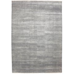 New Transitional Grass Cloth Patterned Gray Area Rug with Modern Style