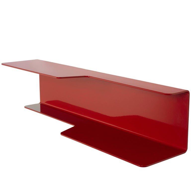 Wall-Mounted Tidal Shelf in Red Powder-Coated Aluminum by Jonathan Nesci For Sale
