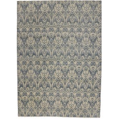 New Modern Transitional Ikat Style Area Rug, Gray-Blue Ikat Rug