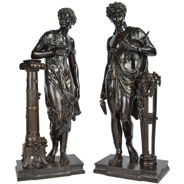 Pair of Classical Grecho Bronze Statues of Classical Females by Dumaige