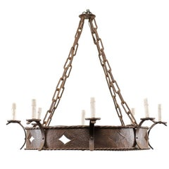 French Midcentury Ring Shaped Wrought Iron Chandelier with Diamond Motifs