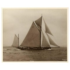 Yacht Coral, Early Silver Gelatin Photographic Print by Beken of Cowes