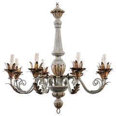 French Painted and Gilded Eight-Light Wood and Metal Chandelier in Grey-Blue