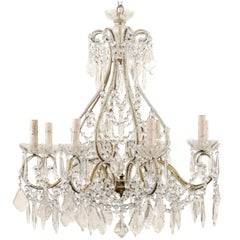 French Mid-20th Century Crystal Chandelier with Gilded and Beaded Armature