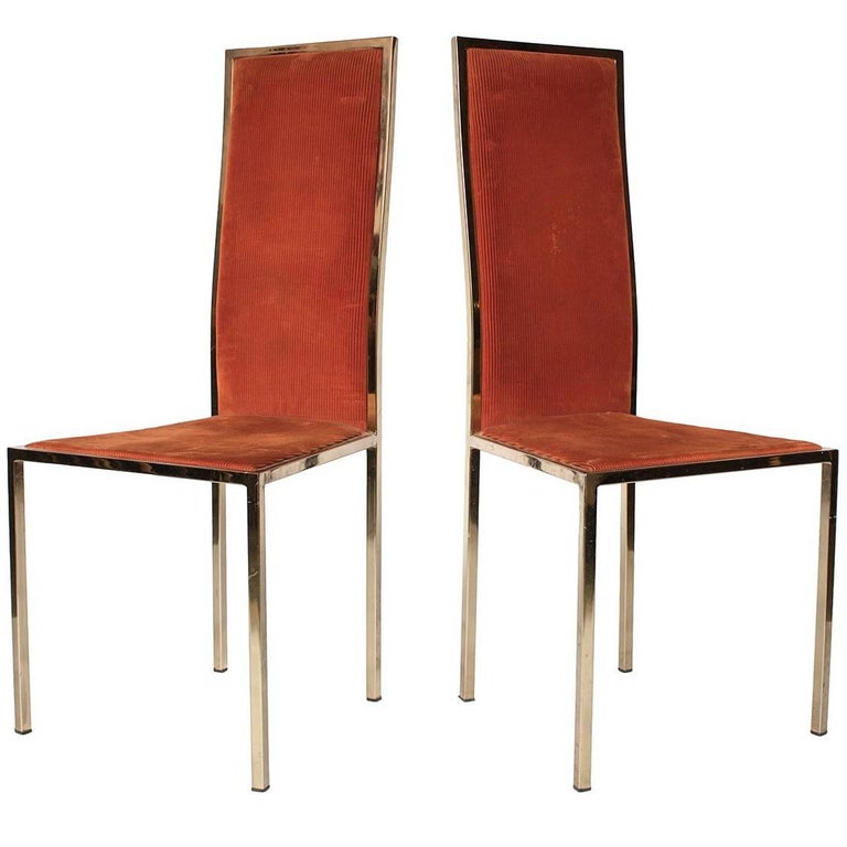 Midcentury Hollywood Regency Brass Dining Chairs