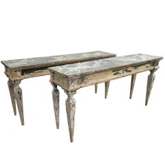 Pair of Spanish Painted Wood Console Tables