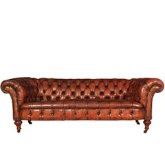 Victorian Walnut and Leather Chesterfield Sofa