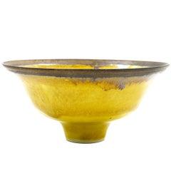 Lucie Rie Rare Uranium Yellow Glaze with Bronze Slip Rim