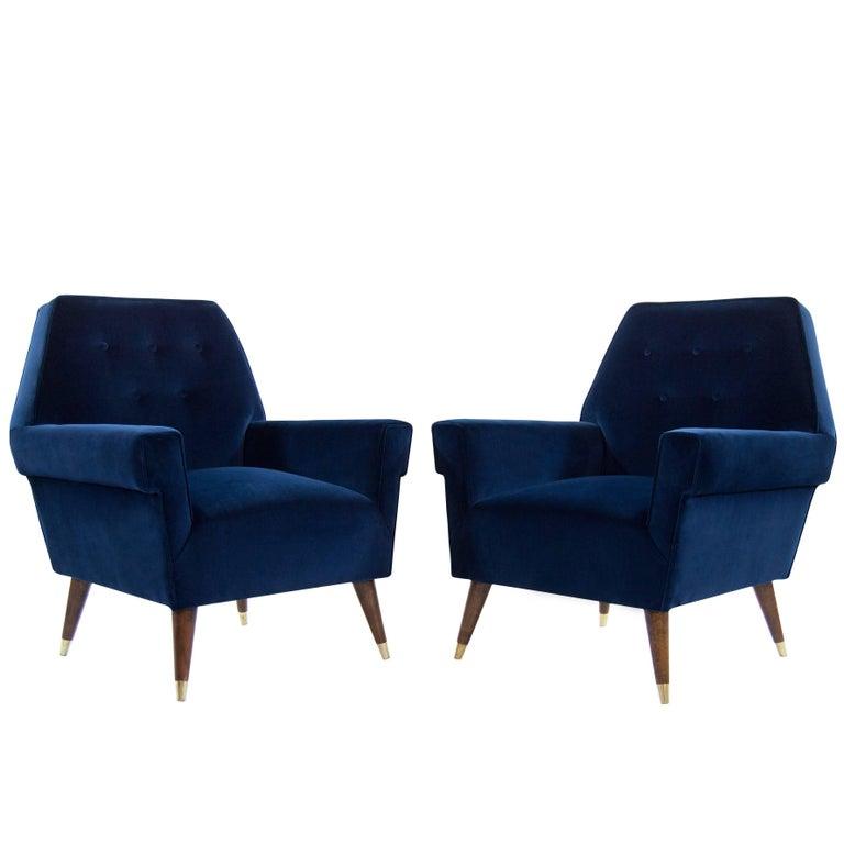 Navy Velvet Club Chair: Italian Navy Blue Velvet Lounge Chairs With Splayed Legs