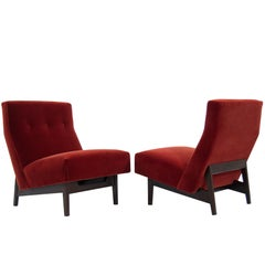 Jens Risom Slipper Chairs in Rust Red Mohair