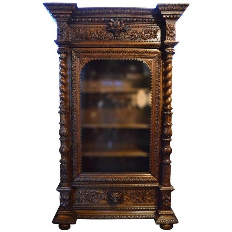 Hand Carved Bookshelf ~ Antique hand carved oak bookcase for sale at stdibs