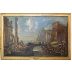 Large Oil Painting Capriccio in the Style of Giovanni Paolo Pannini, circa 1760