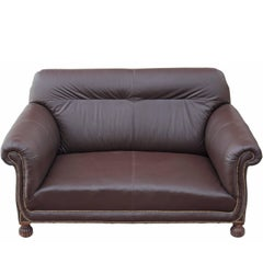 Antique Quality Late Victorian Leather Two-Seat Sofa, circa 1900