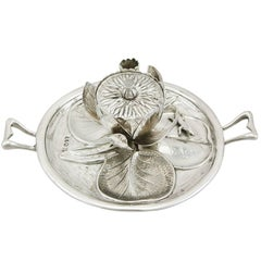 Antique Victorian 1890s Sterling Silver 'Water Lily' Inkwell