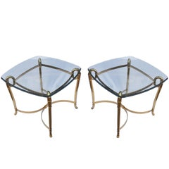 1990s Pair of Bronze Side Tables with Glass Tops