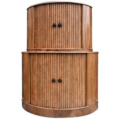 English Art Deco Walnut Cocktail Cabinet