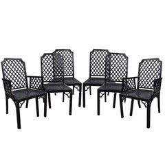 1980s Black Lacquered Wooden Set of Four Chairs and Two Armchairs