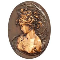 Elegant Copper Relief of Left-Facing Female Bust, circa 1905