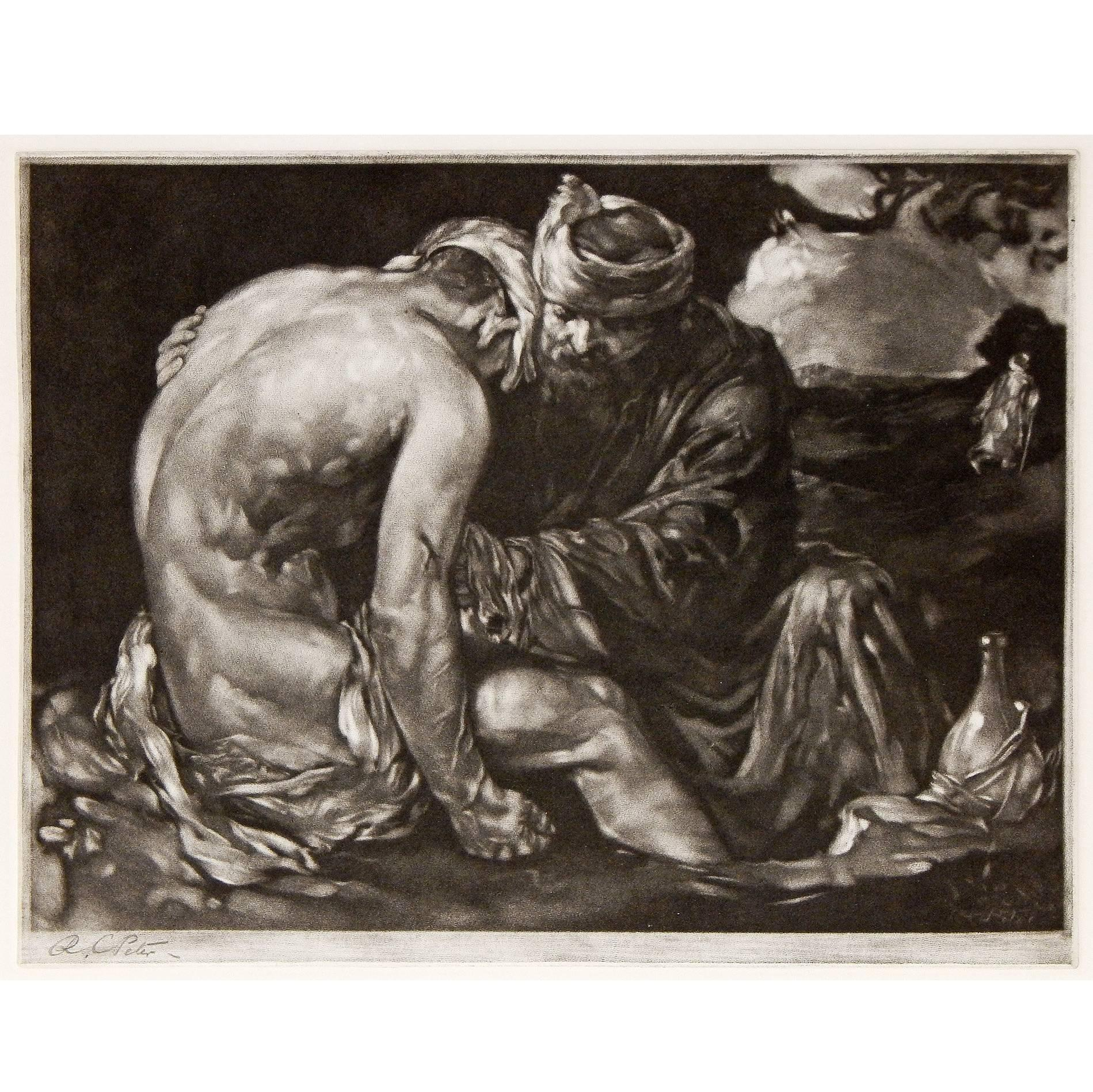 """The Good Samaritan,"" Rare Mezzotint with Male Nude by Robert Charles Peter"