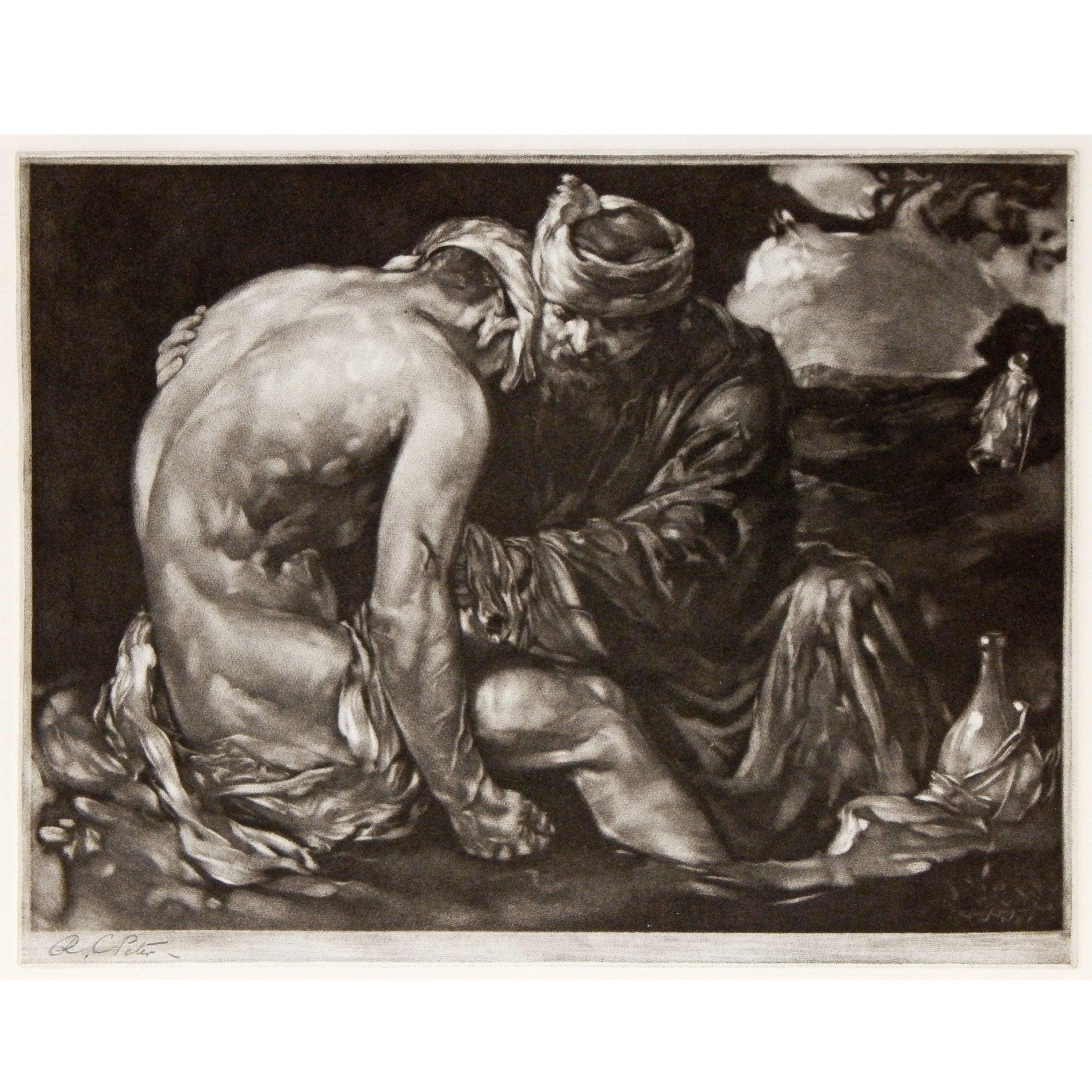 """The Good Samaritan,"" Rare Mezzotint with Male Nude by Robert Charles Peter"