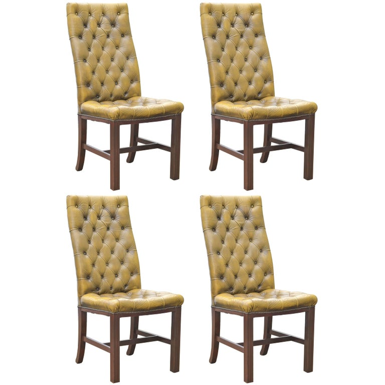 Button tufted english leather dining chairs set of 4 for for Tufted leather dining room chairs