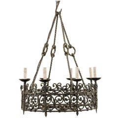 Eight-Light Intricately Scrolled Dark Iron Ring Chandelier, Mid-20th Century