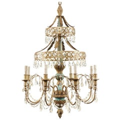 Midcentury Italian Eight-Light Crystal and Wood Chandelier with Pale Teal Tones