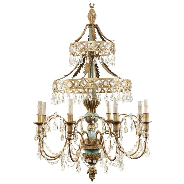 Midcentury Italian Eight Light Crystal And Wood Chandelier With Pale Teal Tones