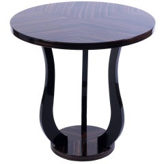 Sensational French Art Deco Tulip Side Table in Macassar
