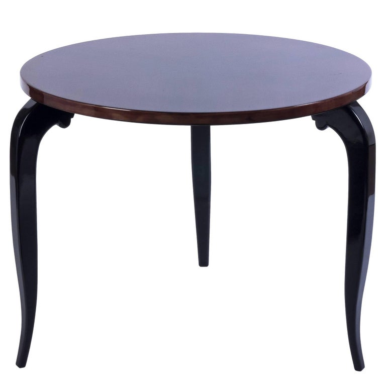 Art Deco Round Side Table in Zebra Wood