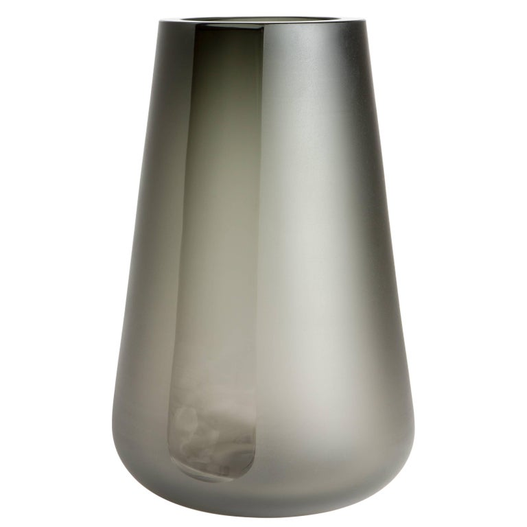 Handblown Smoke Grey Glass Porto Vase Extra Large, ANDREW HUGHES