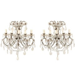 Pair of Italian Crystal Sconces w/ Waterfall Tops and Scrolling Metal Armature