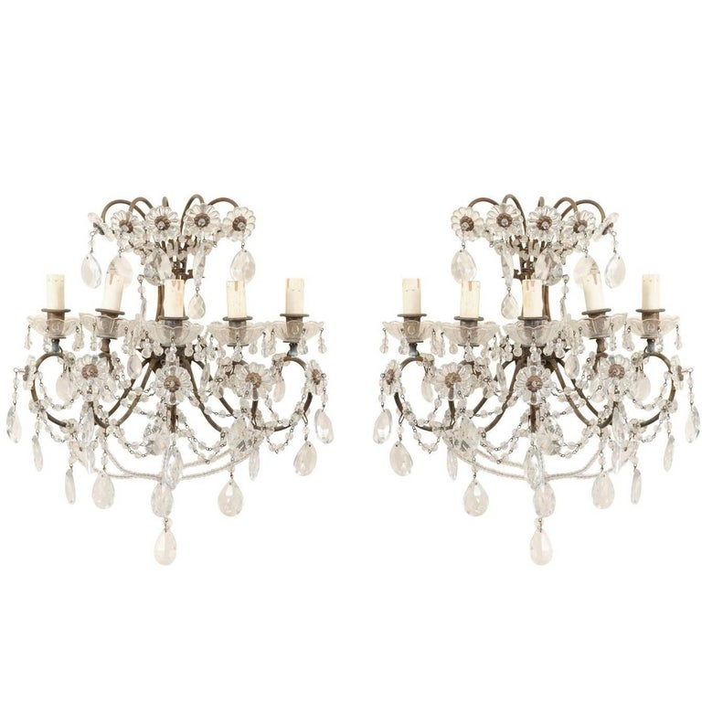 Pair of Italian Crystal and Metal Five-Light Sconces with Swag Crystal Beading
