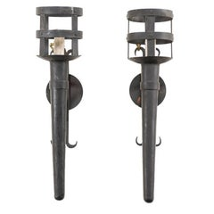 Pair of Tall and Narrow Iron Torch Single-Light Wired Black Sconces