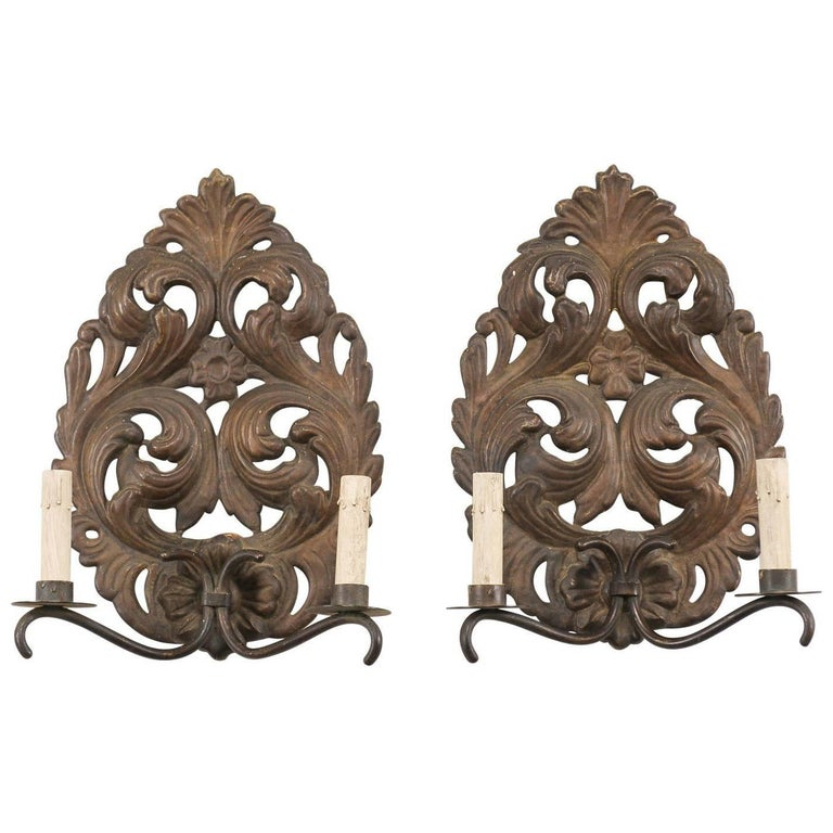 Pair of Italian Tole Two-Light Sconces with Scrolling Acanthus Leaf Backplates