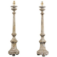 Pair of Italian 19th Century Carved Wood Altar Sticks Made into Table Lamps