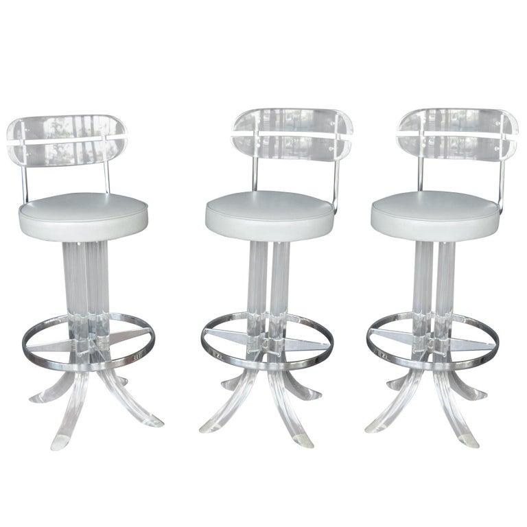 Set of Three Lucite Bar Stools