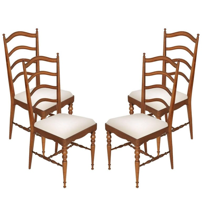 Four Mid-Century Modern Dining Chiavari Chairs, Blond Walnut with New Upholstery For Sale