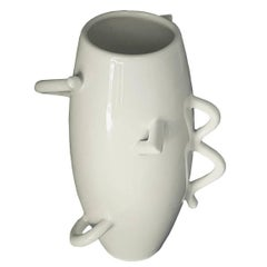 Alessandro Mendini Glazed White Porcelain Vase, Late 20th Century, 1986, Zanotta