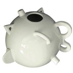 Alessandro Mendini Italian Zanotta Glazed White Porcelain Signed Spherical Vase
