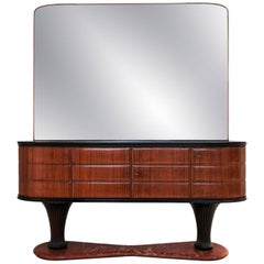 MCM Italian Rosewood Sideboard with Mirror and Black Opaline by Dassi, 1950s