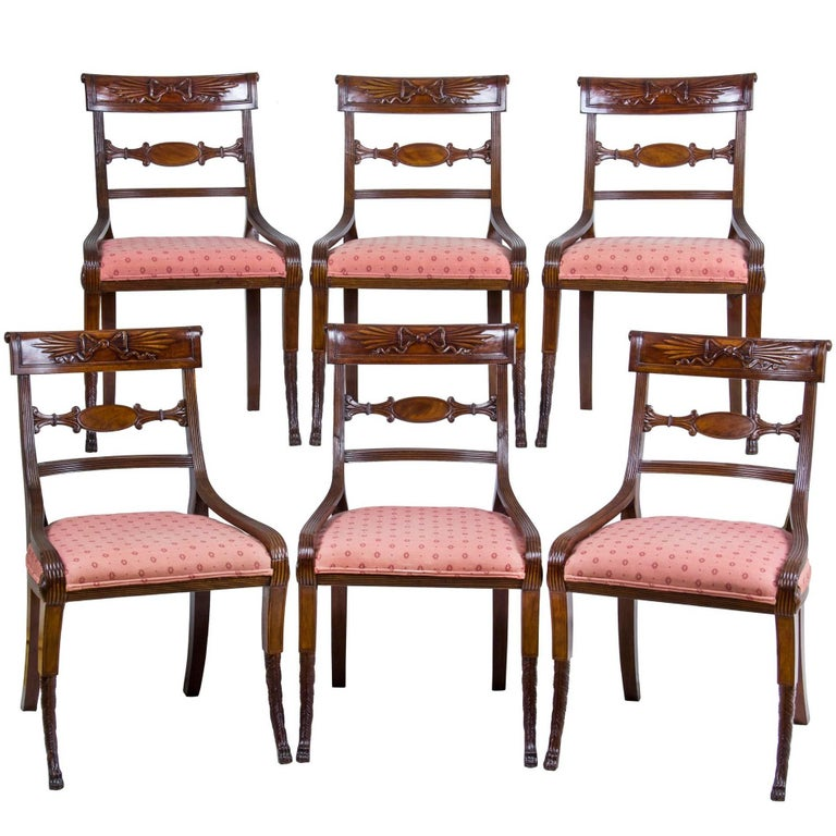 Set of Six Classical Mahogany Dining Chairs, Phyfe Circle, New York, circa 1810 For Sale