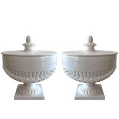 Elegant Pair of Large Neoclassical White Ceramic Lidded Urns