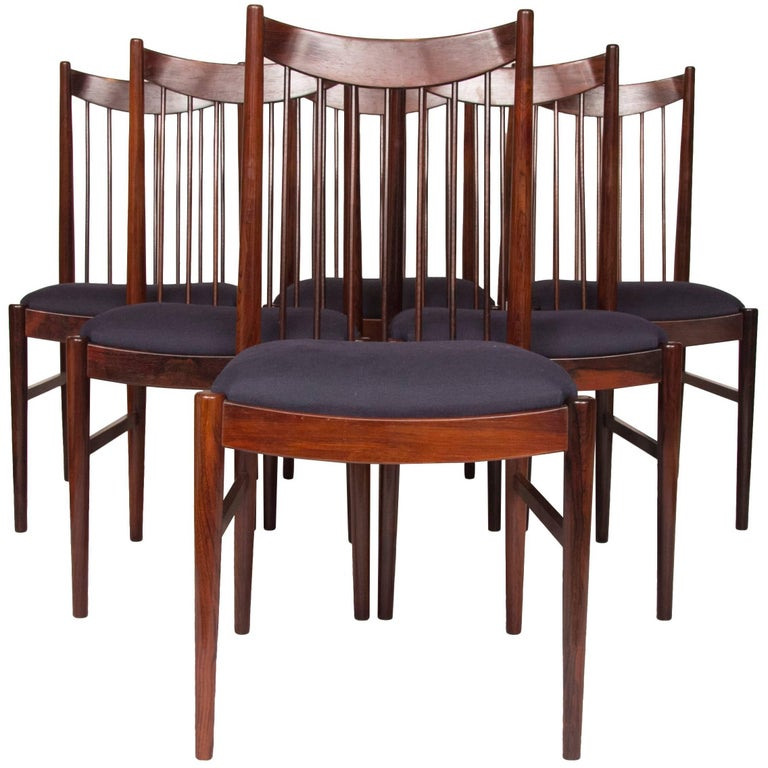 Arne Vodder for Sibast Midcentury Rosewood Dining Chairs