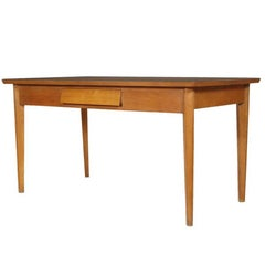 Mid-Century Modern Table with Drawer, Beechwood, Top Formica Ico Parisi Style
