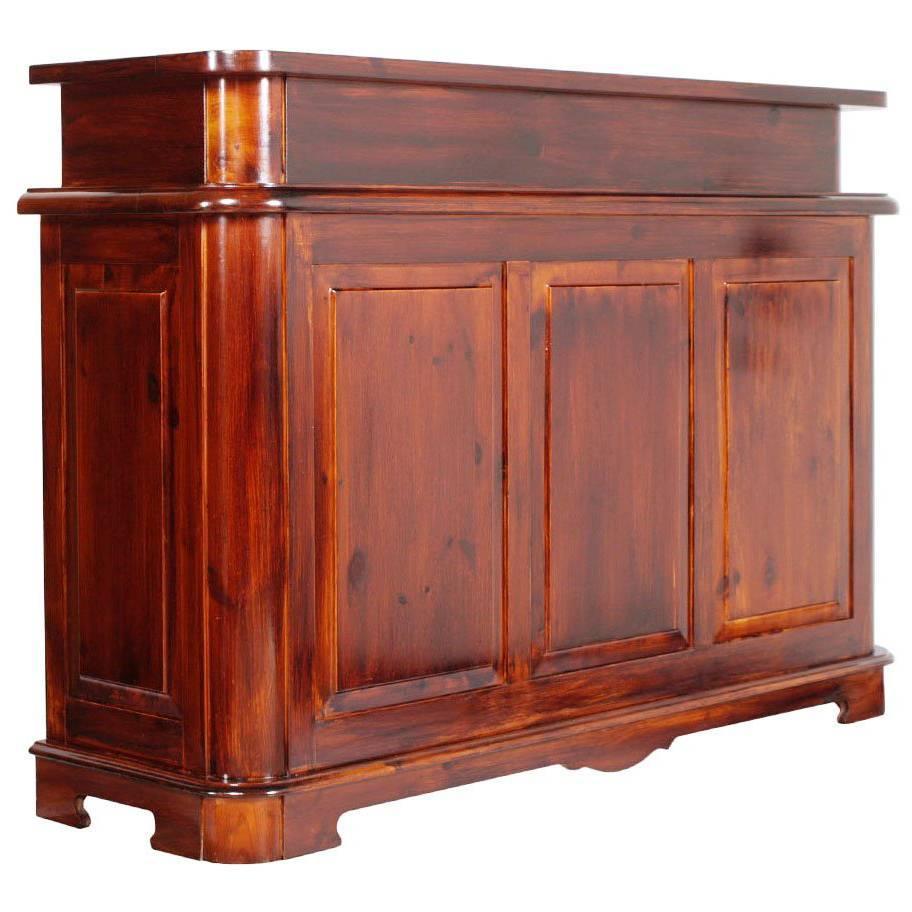 Mid Century Modern Kitchen Cabinet Three Drawers Shelves Red Larch