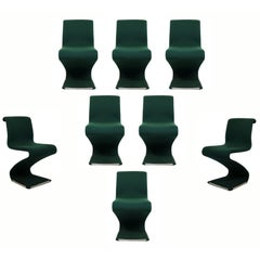 Mid-Century Modern RIMA Linea Disegno Set of Eight Z Dining Chairs, Panton Era