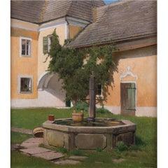 Idyll in Inner Courtyard by Ferdinand Brunner, Vienna, circa 1920