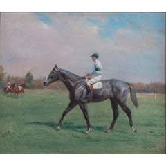Horse Race Painting by Eugene Pechaubes, circa 1910